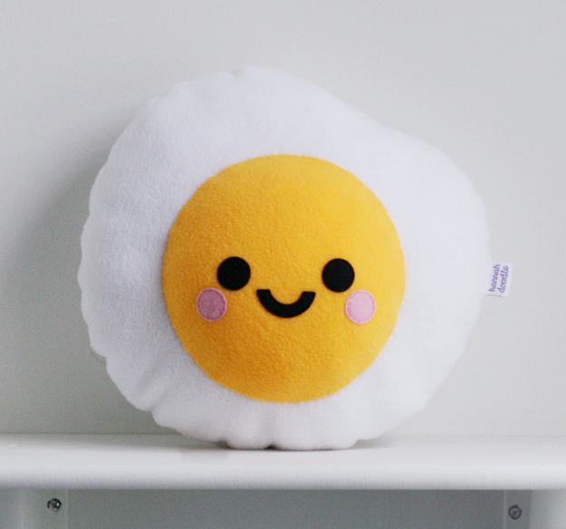 A fried egg pillow
