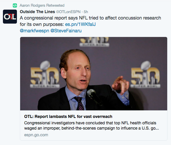 Green Bay Packers quarterback Aaron Rodgers retweeted the ESPN report on the congressional findings without comment.