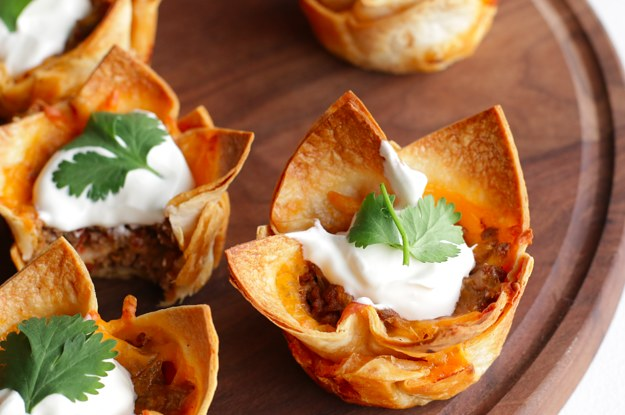 taco cups with tortillas