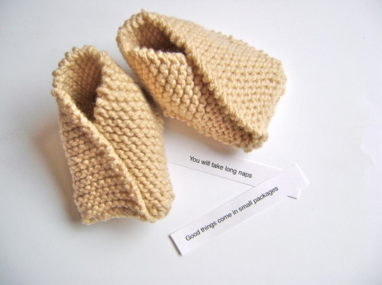 These fortune cookie-inspired booties.