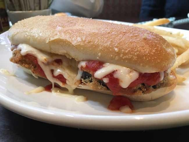 The Eggplant Parmigiana Breadstick Sandwich.