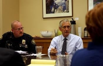 Portland Police Chief Larry O'Dea attends a meeting with Mayor Charlie Hales