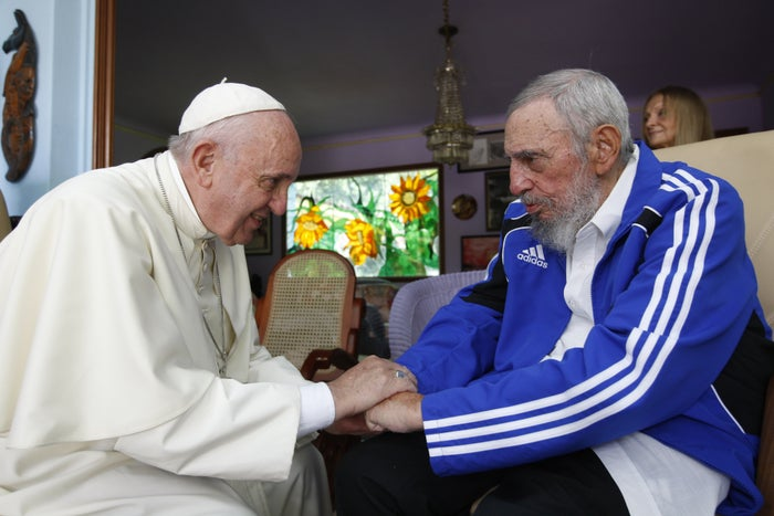 Yes, that's Fidel Castro in an Adidas tracksuit meeting the Pope.