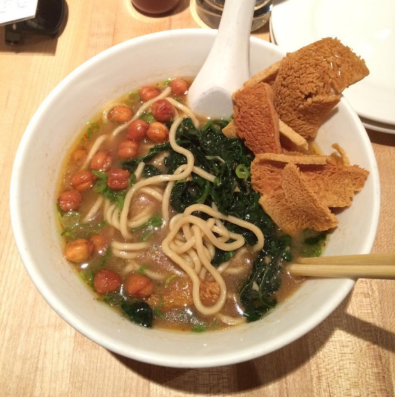 Hozon Ramen with scallions, crispy chickpeas and kale from Momofuku Noodle Bar.