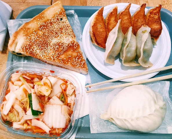 The Sesame Pancake Sandwiches and Pan Fried Vegetable Dumplings from Vanessa's Dumpling House.