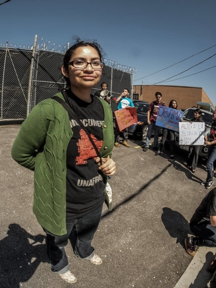 Nadia Sol Ireri Unzueta Carrasco at a 2013 protest outside the Broadview Detention Facility against the record-high deportations under President Obama.