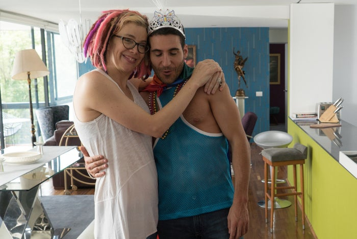Lana Wachowski with star Miguel Angel Silvestre on location for Season 2.