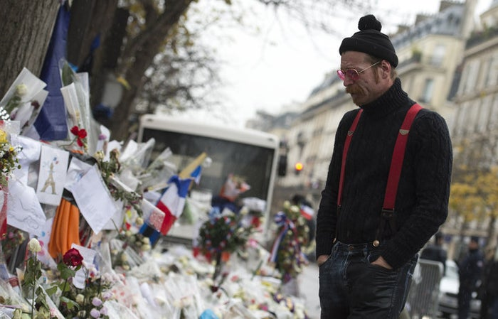 Jesse Hughes outside the Bataclan in December after the attacks.