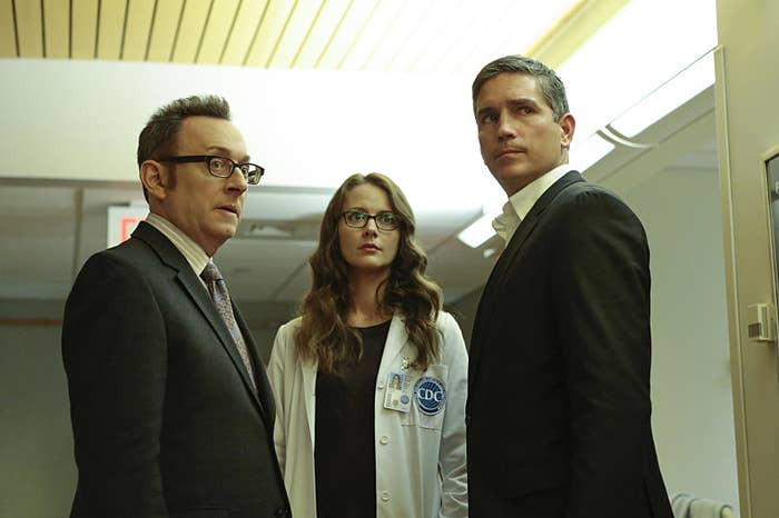 Emerson, Caviezel, and Amy Acker (center) as Root.