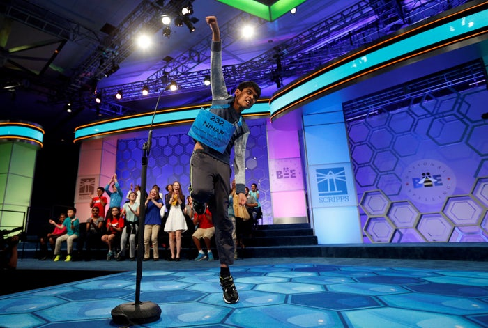 Nihar Saireddy Janga of Austin, TX, leaps for joy upon spelling the last word to become a co-champion.