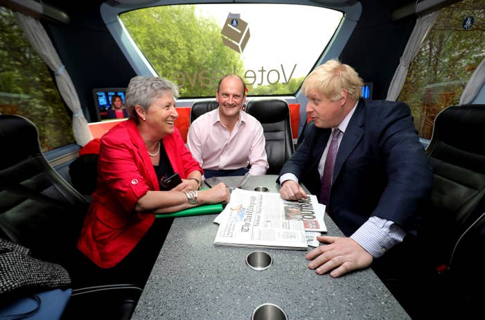 """Stuart with Carswell and Johnson on the Vote Leave """"Brexit Battle Bus"""""""