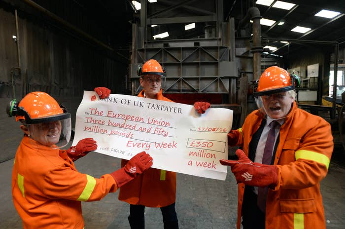 """Gisela Stuart MP, pictured with Boris Johnson and Douglas Carswell holding a """"Bank of UK Taxpayer"""" cheque at a Vote Leave press event."""