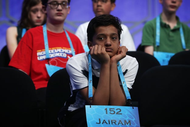 """The Scripps Spelling Bee is a *high pressure* situation for contestants, which is why there's a """"crying couch"""" backstage to give those eliminated a chance to compose themselves."""