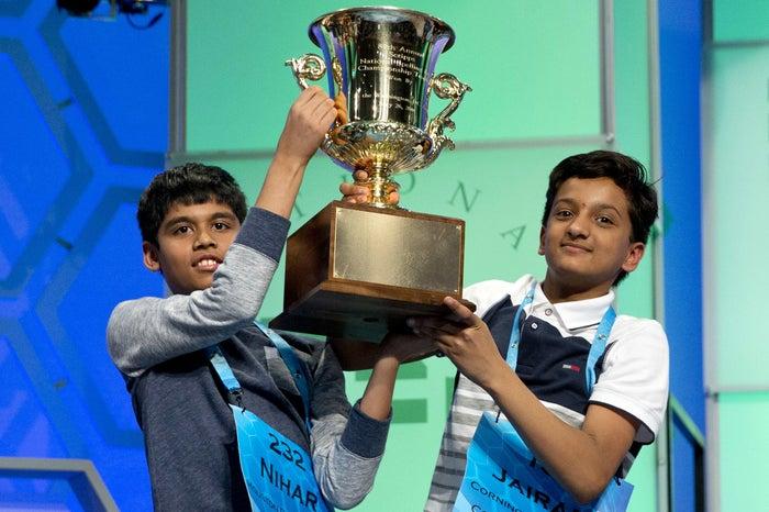 From left: Nihar Janga, 11, of Austin, Texas, and Jairam Hathwar, 13, of Painted Post, N.Y.