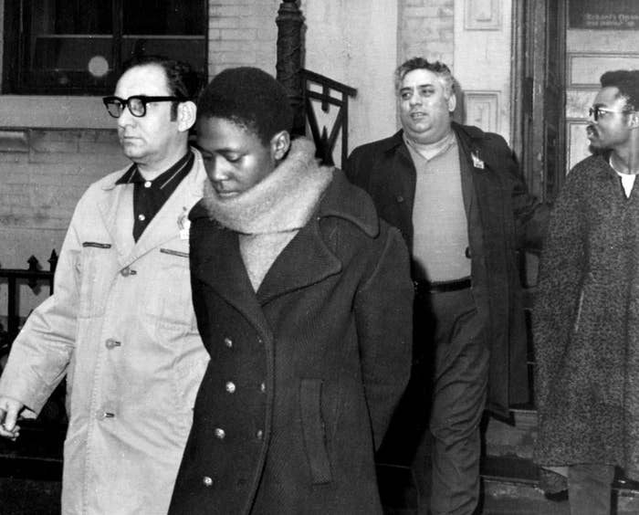 Afeni Shakur Davis, center, is escorted from a police station in New York in1969 after her arrest.