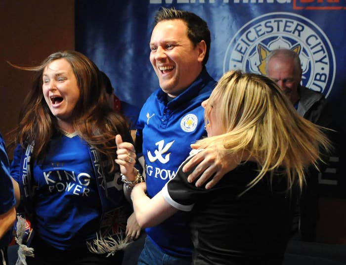 Competition winner Steve Worthy celebrates at home with family in Leicester