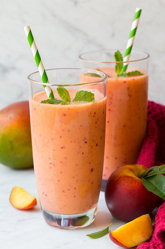 Ingredients:❀ 1½ cup frozen, peeled mango chunks, partially thawed❀ 1½ cups frozen strawberries❀ 1 cup fresh peach slices (2 medium peaches, pitted)❀ 1 well ripened banana❀ 2 cups chilled pineapple juiceDirectionsSTEP 1: Add all ingredients to a blender and process until smooth.STEP 2: Serve and enjoy!Click here for recipe.