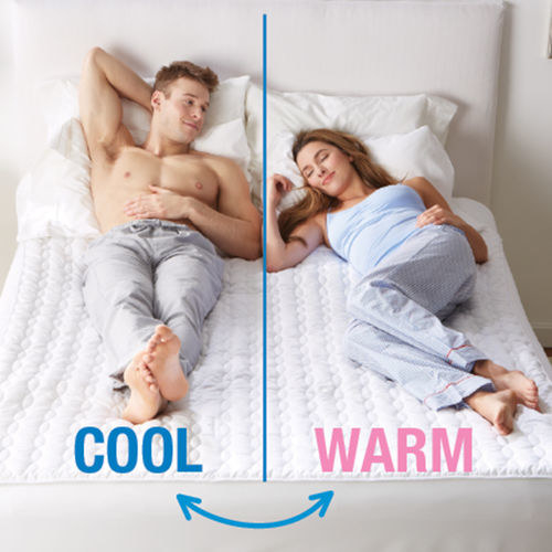 A mattress pad with different zones for couples who prefer different temperatures.