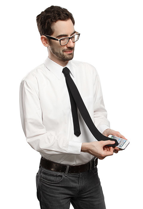 A microfiber tie you can use to wipe the smudges off your filthy phone screen.