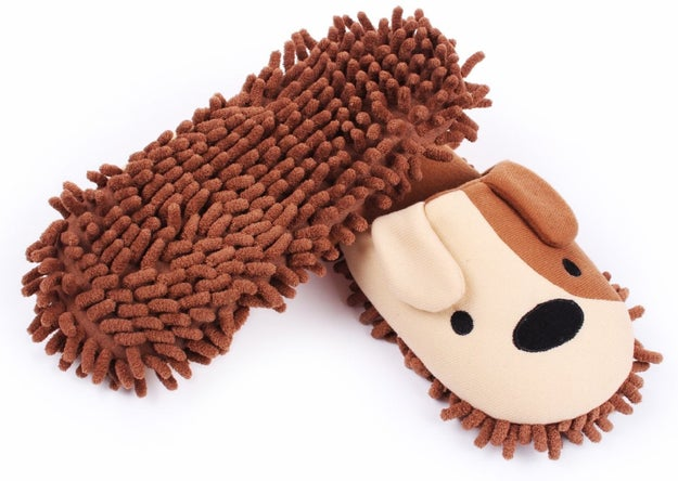 A pair of puppy slippers that sweep and dust as you walk around.