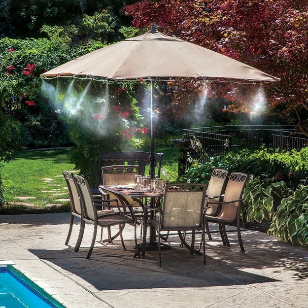 A misting system that cools the surrounding area by up to 20 degrees.