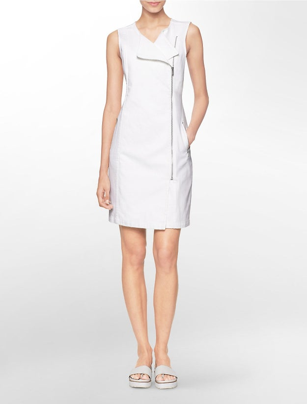 Asymmetrical Zip Front Sleeveless Moto Dress