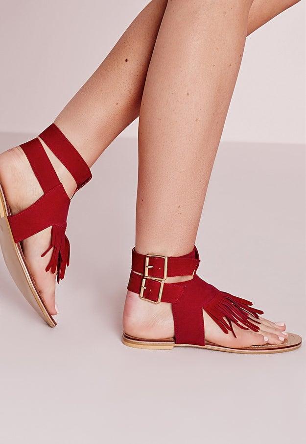 Tassel Front Flat Sandals, $42.50