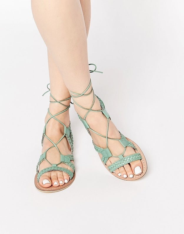 ASOS FOR LOVE Leather Lace Up Sandals, $46