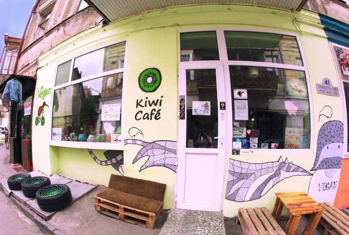The Kiwi Café, which opened in 2015, is an odd sight in its Tbilisi neighborhood — veganism is rare in the country.