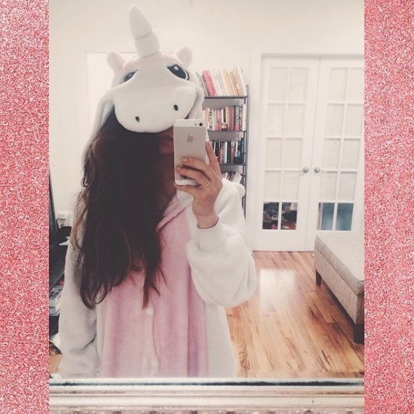 Liz + unicorn onesie = only 78 likes. WHERE U AT, WORLD?