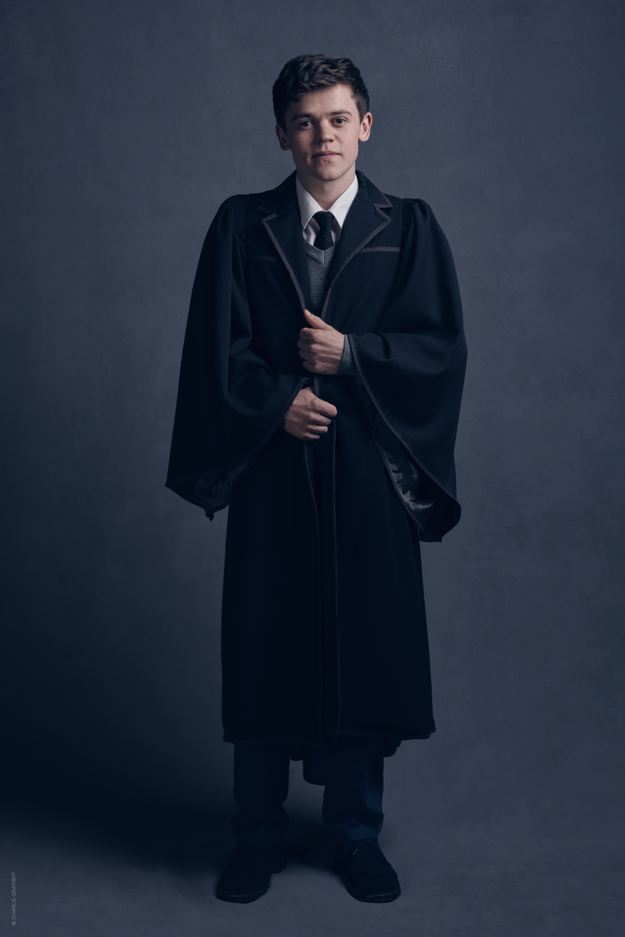 And we also get to see Sam Clemmett as Albus Severus Potter, in the newly designed Hogwarts robes.