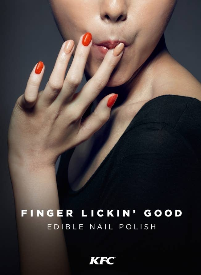 "Bringing a new sense of literalness to the company's slogan, ""Finger lickin' good."""