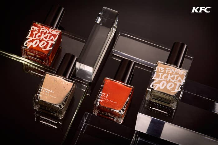 "The polishes — which yes, are real, and yes, are actually edible — were created in ""Original"" and ""Hot & Spicy"" flavors for a KFC Hong Kong campaign.""We got McCormicks, the food technologists who guard the secrets of KFC's secret recipe to develop a solution based on natural ingredients to create this edible nail polish that hardens when dry, with a glossy finish,"" Mugglestone said."