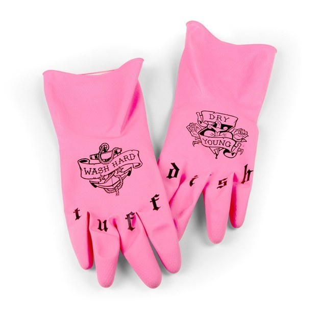 A pair of tatted dish gloves for the ~toughest~ messes.