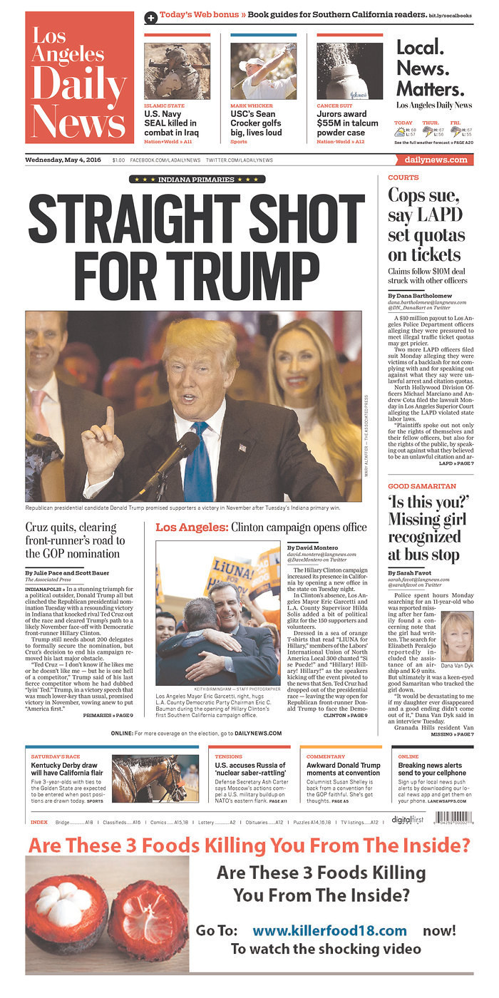 U.S. Front Pages Day After Trump Becomes Presumptive GOP Nominee