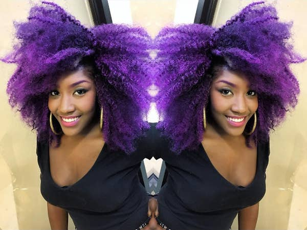 """""""I just dyed my hair bright purple, which was an incredibly liberating experience. When I look in the mirror I don't see my 'flaws'; I see how good I look!"""" — Dangel3272"""