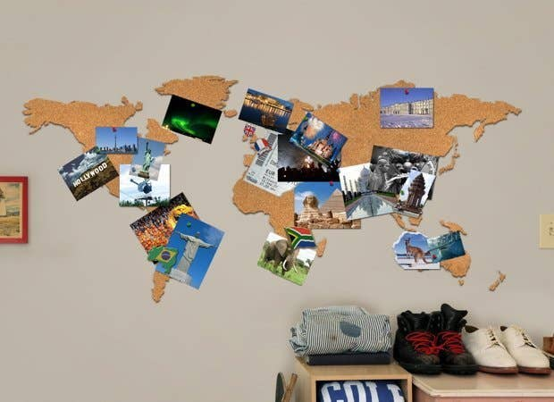 19 gorgeous ways to display your favorite travel photos or buy this world map shaped cork board gumiabroncs Images