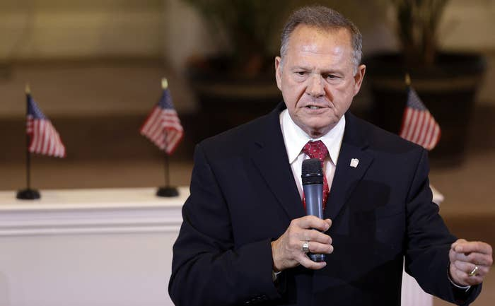 Roy Moore speaks to the congregation of Kimberly Church of God on June 28, 2015, in Kimberley, Alabama.