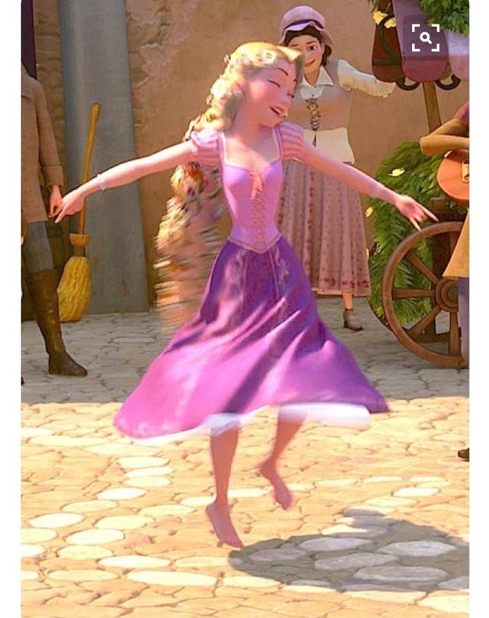 Rapunzel is just doing her thing here. Don't judge.