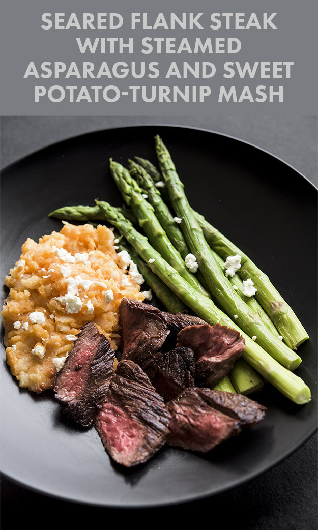 Seared Flank Steak With Steamed Asparagus and Turnip-Sweet Potato Mash