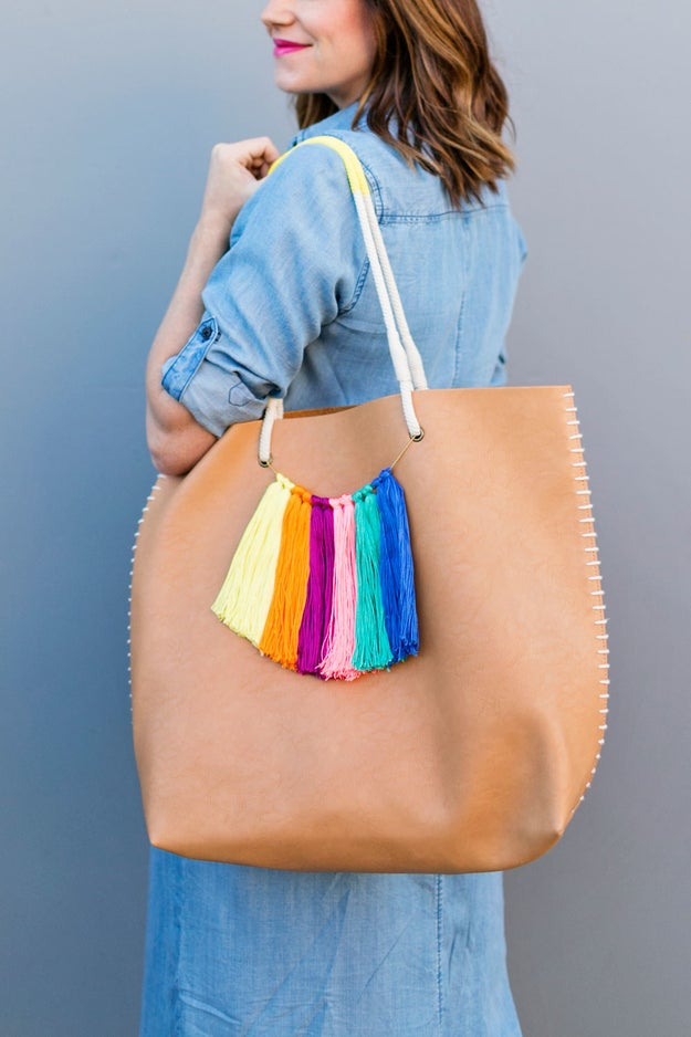 Tie a rainbow of tassels to your summer tote bag for a quick splash of color.