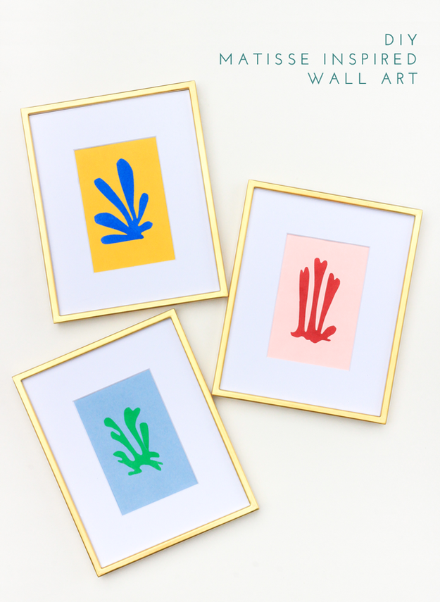 Cut out Matisse-inspired shapes from card stock, then frame them for your walls.