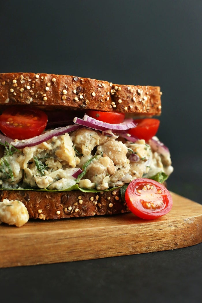 Chickpea Sunflower Sandwich Swap out the suggested vegan mayo for tahini. It'll make all the difference.