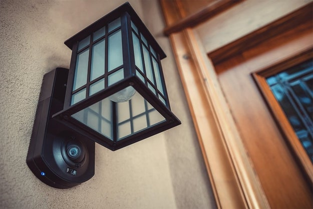 An outdoor security camera that doubles as a lantern.