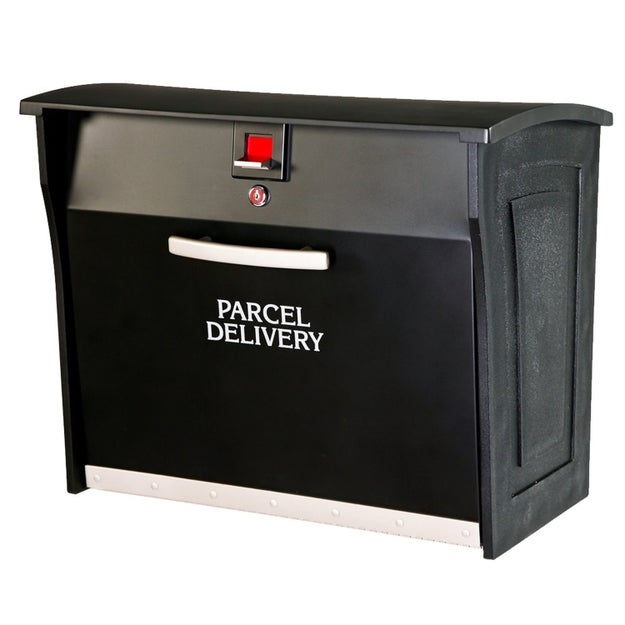 A parcel box that locks automatically after a package is delivered.