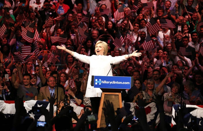 Democratic U.S. presidential candidate Hillary Clinton arrives to speak during her California primary night rally in the Brooklyn, New York. On Tuesday, Hillary Clinton became the Democratic Party's presumptive nominee for president — a role that has never been granted to a woman in U.S. history.