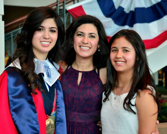 Larissa Martinez, with her mother and sister.