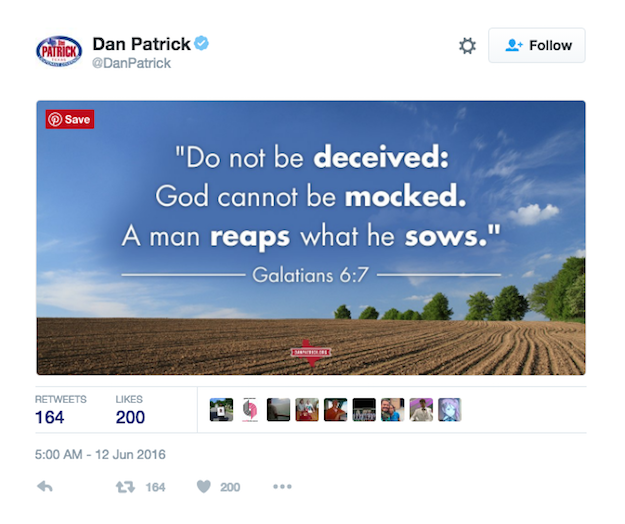 """The verse says: """"Do not be deceived: God cannot be mocked. A man reaps what he sows."""""""