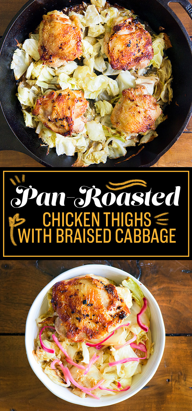 TUESDAY: Pan-Roasted Chicken Thighs with Braised Cabbage
