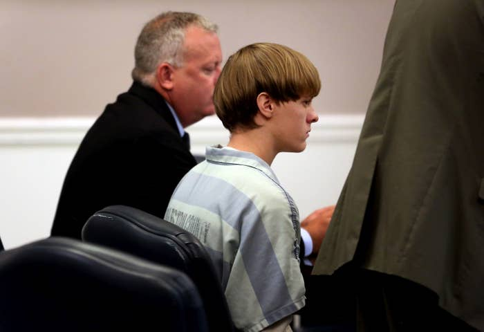 Dylan Roof appears in court accompanied by assistant defensive attorney William Maguire on July 18, 2015 in Charleston, South Carolina.